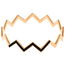 Buy Melissa Odabash Rose Gold Plated Swarovski Crystal Zigzag Bracelet, Rose Gold/Black Online at johnlewis.com