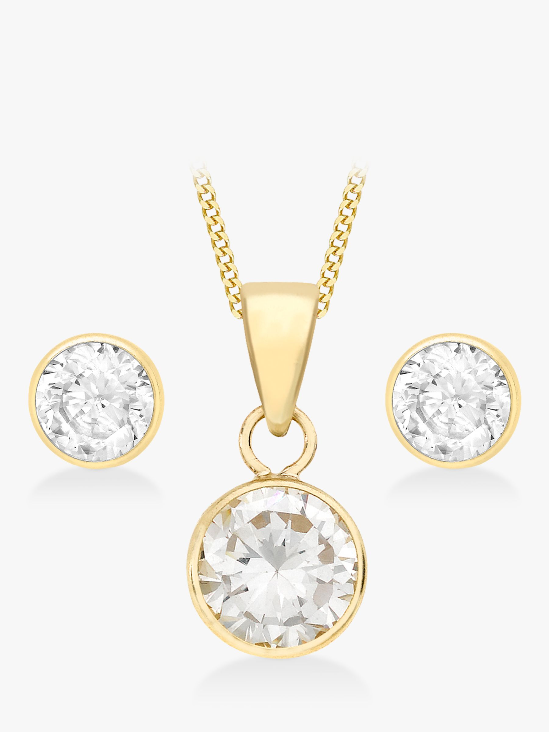 IBB IBB 9ct Yellow Gold Cubic Zirconia Pendant and Stud Earrings Set, Gold