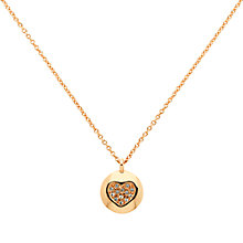 Buy Melissa Odabash Rose Gold Plated Swarovski Crystal Heart Disc Pendant, Rose Gold Online at johnlewis.com