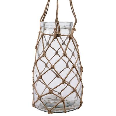 Decoris Glass Planter In Rope Hanger