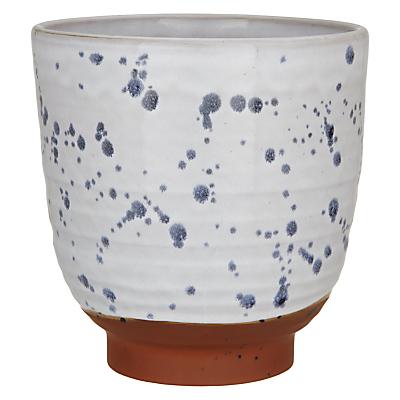 Decoris Terracotta Planter, White/Blue