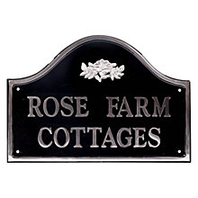 Buy The House Nameplate Company Personalised Polished Aluminium Bridge House Sign, Wild Rose Motif, Medium Online at johnlewis.com