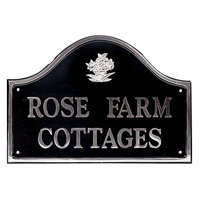 The House Nameplate Company Personalised Polished Aluminium Bridge House Sign, Daffodil Motif, Medium