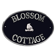 Buy The House Nameplate Company Personalised Aluminium Oval House Sign, Bird Motif, Large Online at johnlewis.com
