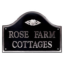Buy The House Nameplate Company Personalised Polished Aluminium Bridge House Sign, Flower Scroll Motif, Medium Online at johnlewis.com