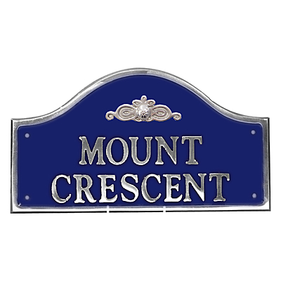 The House Nameplate Company Personalised Polished Aluminium Bridge House Sign, Flower Scroll Motif, Small