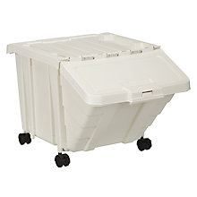 Buy John Lewis Recycling Bin with Wheels, White, 50L Online at johnlewis.com
