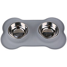 Buy Pet London Silicone Double Dog Bowl, Grey Online at johnlewis.com