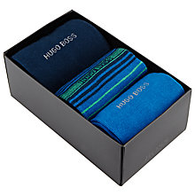 Buy BOSS Stripe and Plain Socks Gift Set, One Size, Pack of 3, Blue Online at johnlewis.com