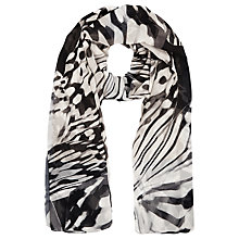 Buy Windsmoor Butterfly Print Scarf, Oyster/Black Online at johnlewis.com