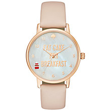 Buy kate spade new york 1YRU0892 Women's Novelty Metro Breakfast Leather Strap Watch, Nude/Grey Online at johnlewis.com