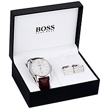 Buy BOSS 21570032 Men's Leather Strap Watch and Cufflinks Box Set, Brown/Silver Online at johnlewis.com