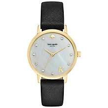 Buy kate spade new york 1YRU092K Women's Novelty Metro Monogram Leather Strap Watch, Black/Grey Online at johnlewis.com