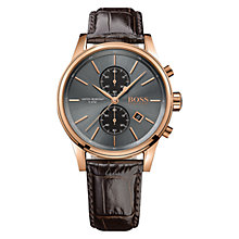 Buy HUGO BOSS 21513281 Men's Jet Chronograph Leather Strap Watch, Brown/Grey Online at johnlewis.com