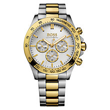 Buy HUGO BOSS 21512960 Men's Ikon Chronograph Bracelet Strap Watch, Silver/Gold Online at johnlewis.com
