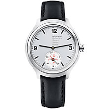 Buy Mondaine MH1B2S80LB Unisex Helvetica Leather Strap Smartwatch, Black/Silver Online at johnlewis.com