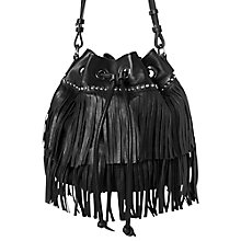 Buy Mango Fringed Leather Bucket Bag, Black Online at johnlewis.com