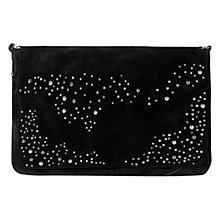 Buy Mango Stud Suede Clutch Bag, Black Online at johnlewis.com