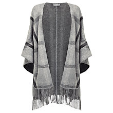 Buy Pure Collection Cashmere Poncho Scarf, Grey Check Online at johnlewis.com