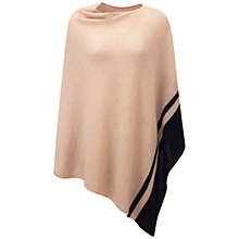 Buy Pure Collection Gassato Cashmere Asymmetric Poncho, Stone/Black Online at johnlewis.com