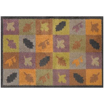 Turtle Mat Autumn Squares & Leaves Door Mat, Brown