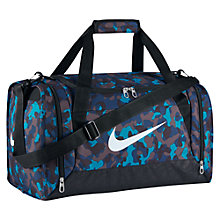 Buy Nike Brasilia 6 Small Duffle Camo Print Bag, Blue/Black Online at johnlewis.com