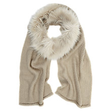 Buy Mint Velvet Faux Fur Knit Scarf, Neutral Online at johnlewis.com