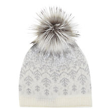 Buy Mint Velvet Fairisle Faux Fur Pom Pom Hat, Cream/Grey Online at johnlewis.com