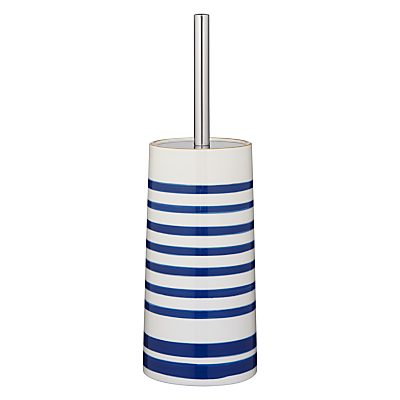 John Lewis Salcombe Stripe Toilet Brush and Holder, Nautical Blue
