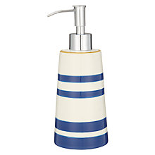 Buy John Lewis Salcombe Stripe Soap Dispenser, Nautical Blue Online at johnlewis.com