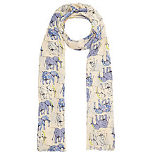 Buy John Lewis Bamboo Blend Happy Elephant Scarf, Blue/Multi Online at johnlewis.com
