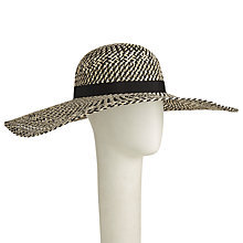 Buy John Lewis Open Weave Floppy Hat, Black/Cream Online at johnlewis.com