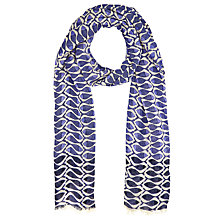 Buy John Lewis Friendly Fish Print Scarf, Navy Online at johnlewis.com
