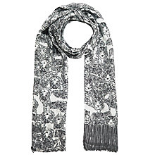 Buy John Lewis Bamboo Blend Monochrome Fringe Detail Tiger Scarf, Black Online at johnlewis.com