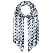 Buy John Lewis Skinny Bird Print Scarf, White/Navy Online at johnlewis.com