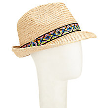 Buy John Lewis Raffia Trilby Aztec Trim Hat, Natural Online at johnlewis.com