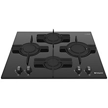Buy Hotpoint Luce GX641FGK Gas Hob, Black Glass Online at johnlewis.com