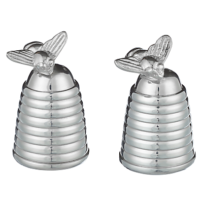Image of Culinary Concepts Silver Plated Honey Bee Hive Salt & Pepper Cruet Set