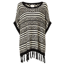 Buy East Jacquard Fringe Poncho, Black Online at johnlewis.com