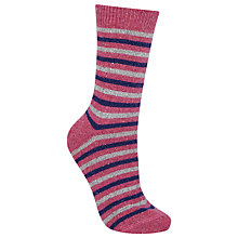 Buy John Lewis Wool and Silk Blend Stripe Ankle Socks, Pink/Multi Online at johnlewis.com