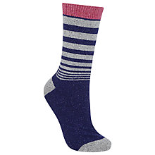 Buy John Lewis Wool Silk Blend Gradual Stripe Ankle Socks, Navy/Grey Online at johnlewis.com