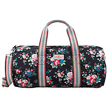 Buy Cath Kidston Spray Flowers Foldaway Barrel Bag, Black Online at johnlewis.com