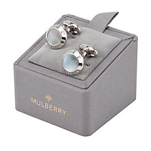 Buy Mulberry Mother of Pearl Silver Plated Coin Cufflinks, Black Online at johnlewis.com
