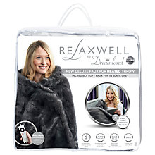 Buy Dreamland Relaxwell Deluxe Faux Fur Heated Throw NEW, Slate Grey Online at johnlewis.com