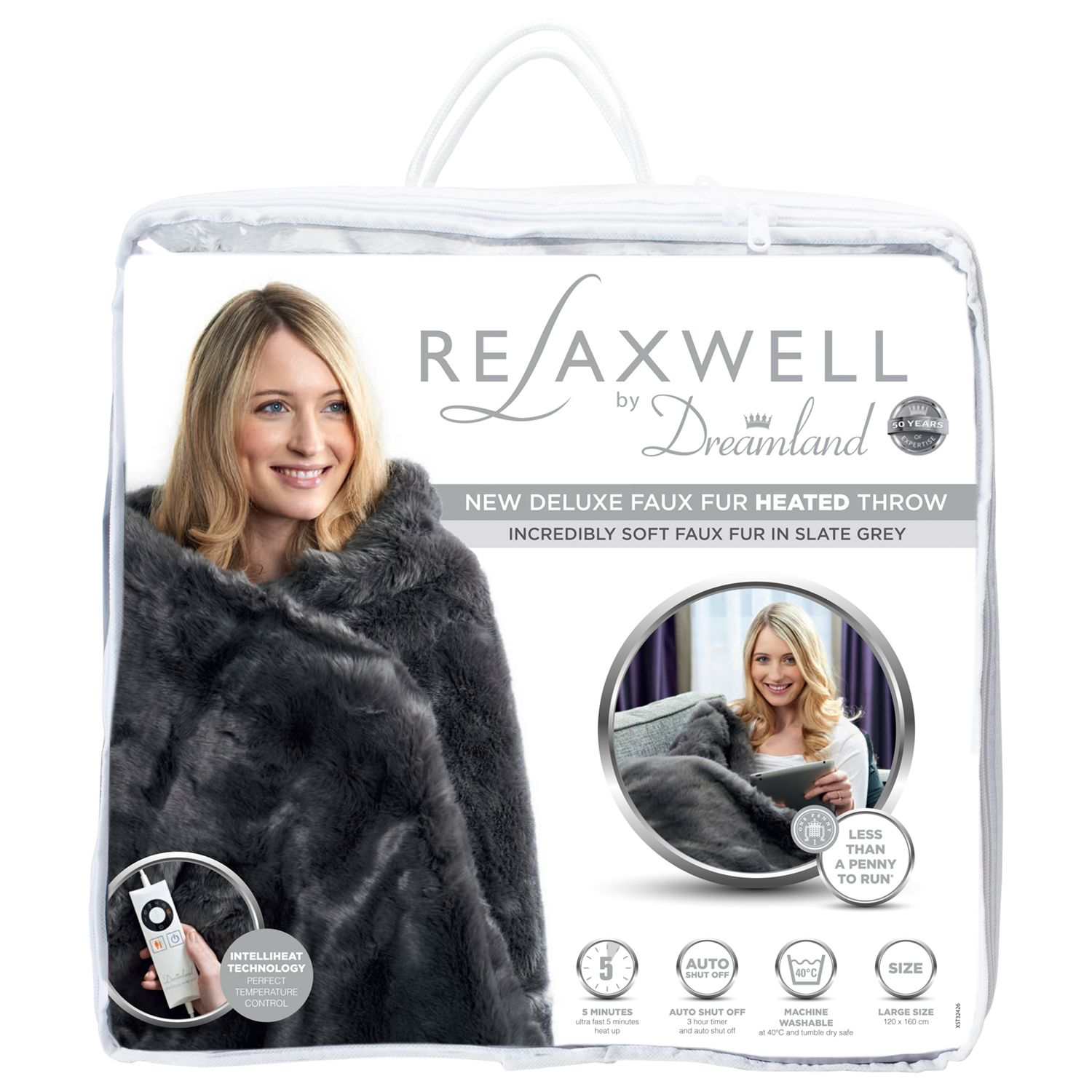 Dreamland Dreamland Relaxwell Deluxe Faux Fur Heated Throw Electric Blanket NEW, Slate Grey
