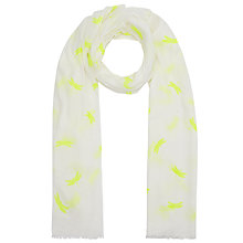 Buy John Lewis Cotton Blend Dragonfly Scarf, White/Yellow Online at johnlewis.com