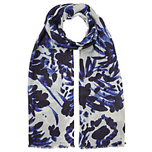 Buy John Lewis Wool Blend Brushstroke Floral Scarf, Blue/White Online at johnlewis.com