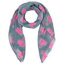 Buy John Lewis Palm Print Scarf, Grey/Neon Pink Online at johnlewis.com