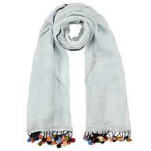 Buy John Lewis Cotton and Linen Blend Pom Pom Scarf, Aqua/Multi Online at johnlewis.com