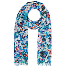 Buy John Lewis Cotton Blend Modern Floral Scarf, Teal/Multi Online at johnlewis.com